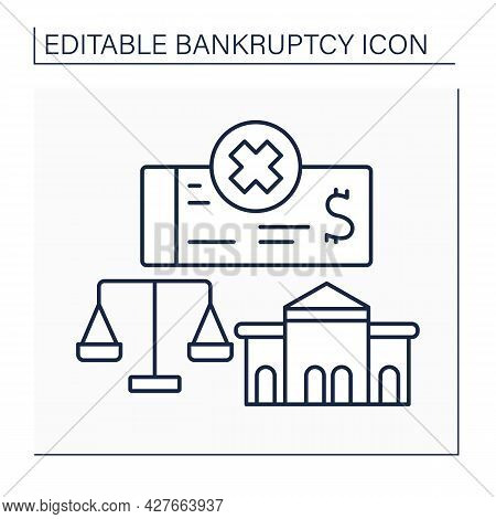 Court Line Icon. Court Settles All Types Of Personal And Corporate Bankruptcy Cases. Specialized Fed