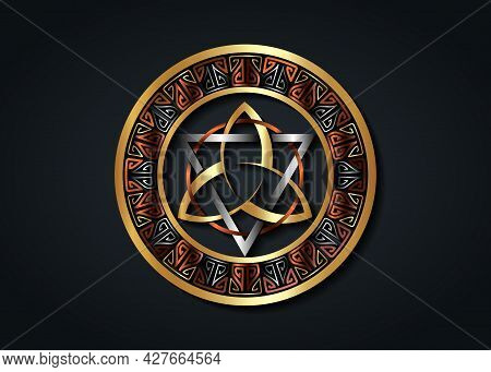 The Grand Seal Of Gold Triquetra With Silver Triangle And Bronze Circle Logo, Metallic Frame Trinity