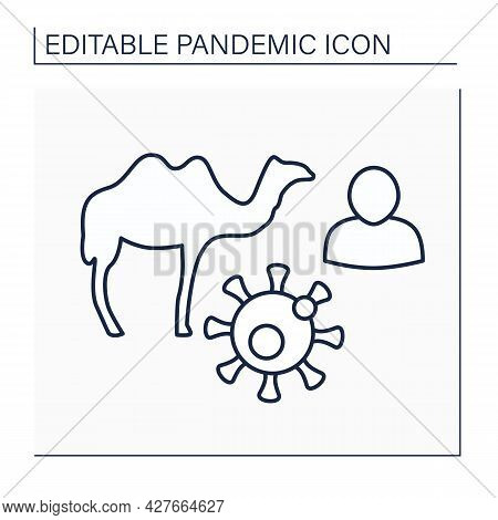 Disease Line Icon. Middle East Respiratory Syndrome. Viral Respiratory Disease Caused By Novel Virus