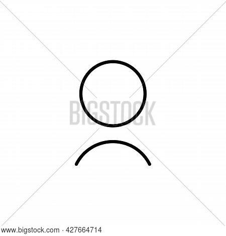 User Account Sign Line Icon In Black. Avatar Symbol. Illustration On White Background. Trendy Modern