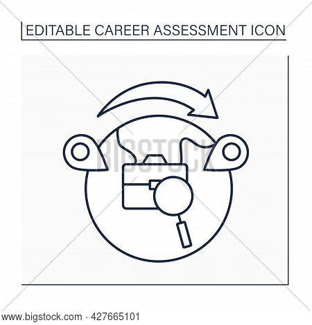 Moving Line Icon. Business Trip. Moving From One Place To Another Through Work.career Assessment Con