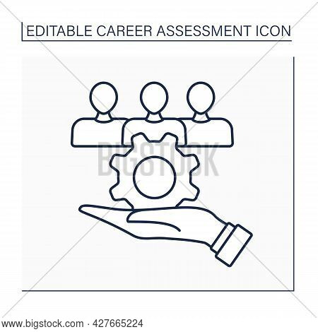 Social Service Line Icon.helping People. Finding Job, Giving Support, Promoting Welfare Of Others.ca