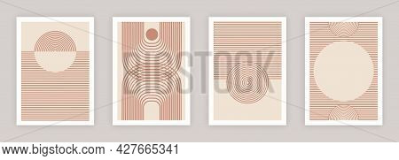 Abstract Wall Arts Vector Collection. Red Stripes On A Pink Background, Geometric Shapes. Art Design
