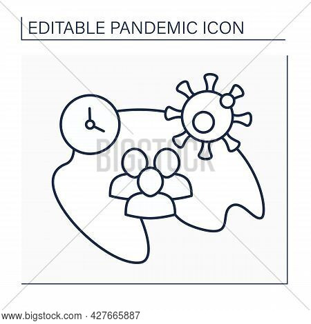 Incidence Line Icon. Number Of New Disease Cases During Specified Time Period. Viruses Spread. Pande