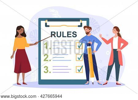 List Of Rules Concept. Employees Of The Company Stand Next To Large List And Study It. Regulation Of