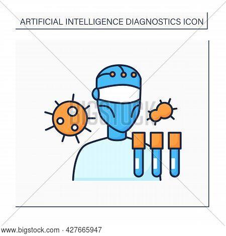 Robot Color Icon. Ai In Medicine. Digital Scientist. Research And Examine Viruses. Ai Diagnostic Con