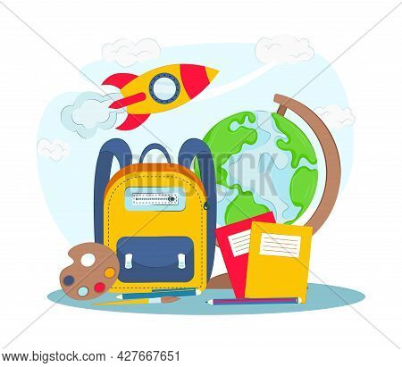 School Supplies On A White Background. Vector Illustration. Back To School Concept. Objects For High