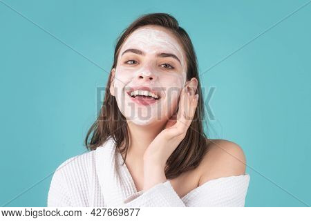Woman Facial Mask, Face Clay. Beautiful Smiling Woman With Cosmetic Facial Procedure, Spa Skin Conce