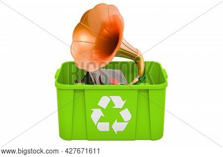 Recycling Trashcan With Retro Gramophone, 3d Rendering Isolated On White Background