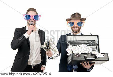Big Win. Showman Announce Winning Man. Jackpot Winner Hold Money Suitcase. Celebrating Money Win