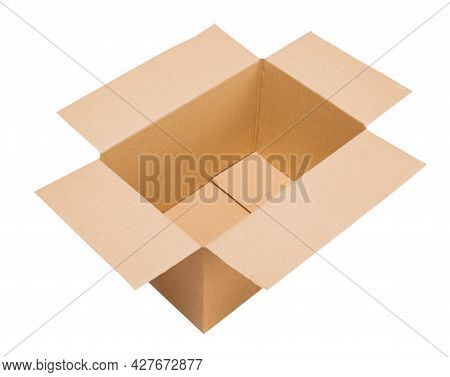 Open Empty Corrugated Cardboard Box Standing In Three Quarters To The Viewer On Isolated White Backg