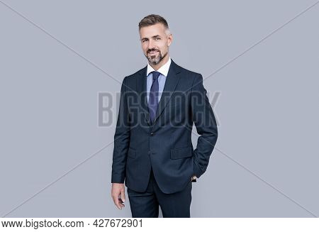 Mature Man Leader With Grizzled Hair In Formal Suit, Charisma