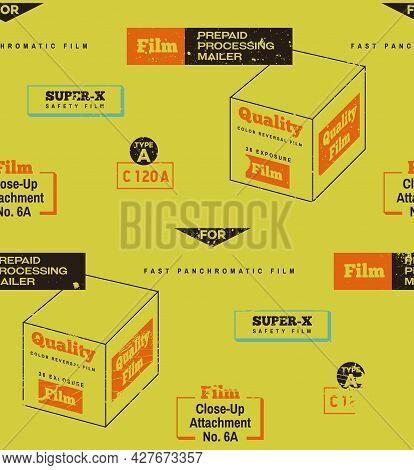 Retro Film Packaging Seamless Pattern Background. Vintage Colors, Retro Camera, Vintage Film, Retro