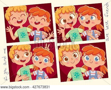 Best Friends. Girl And Boy Posing Together. Photo Set. Funny Cartoon Character. Vector Illustration.