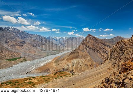 View of Spiti valley and Spiti river in Himalayas in Western Tibet. Spiti valley, Himachal Pradesh, India