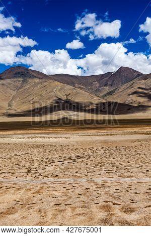 Himalayan landscape in Himalayas along Manali-Leh road. More plains, Ladakh, India