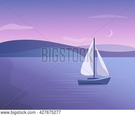 Vector Gradient Scenery With Lake, Sea And Boat