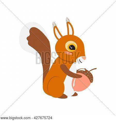 Squirrel With A Acorn. Cute Smiling Squirrel. Animal Illustration.
