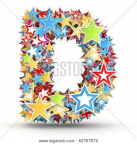 Letter D from colored stars