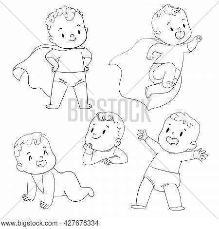 Baby Superhero. Funny Cartoon Character. Vector Illustration. Isolated On White Background. Coloring