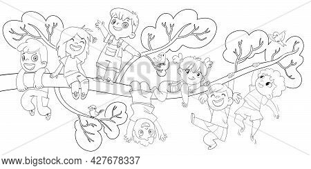 Childrens Day. Children Hung On A Tree Branch. Cartoon Characters. Funny Vector Illustration. Colori