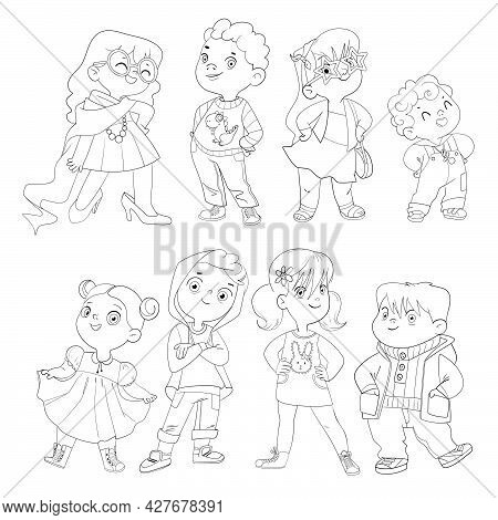 Fashion Children. Funny Cartoon Character. Vector Illustration. Isolated On White Background. Colori