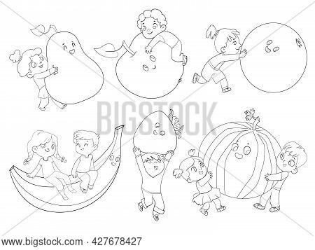 Small Children Holding Big Fruits. Funny Cartoon Character. Vector Illustration. Isolated On White B