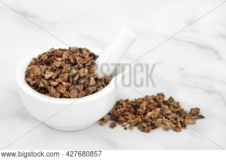 Devils claw root in a mortar with pestle used in herbal medicine to treat arteriosclerosis, arthritis, gout, fibromyalgia, tendonitis, heartburn, migraine, muscle pain and fever. On marble background.