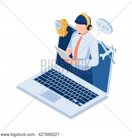 Flat 3d Isometric Male Technical Support Operator Wearting Headset On Laptop Screen. Customer Servic