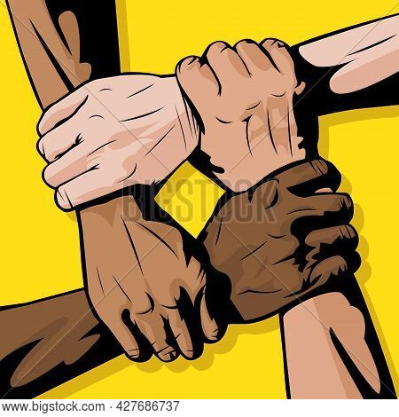 Vector Illustration Of Interracial Union With Yellow Background. Different Skin Tone. Skin Color. Ha