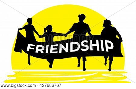 Simple Vector Illustration. Group Of People Running Hand In Hand Towards The Sun. A Friendship. Stro