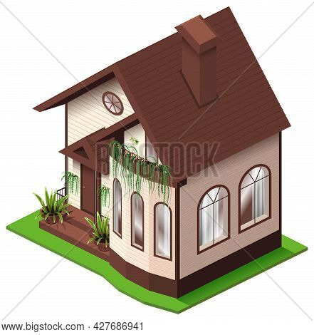House With Attic And Terrace Isometric 3d Illustration. Summer Country Home Private Property