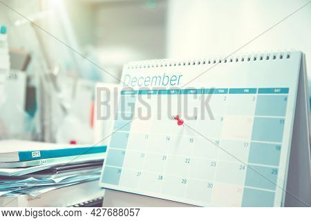 Calendar, Close-up Red Pin On Blank Desk Calendar And Office Equipment Concept Of Event Planner Or P