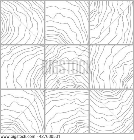 Tile Wave Pattern, Composite Texture, Floor Element For Plans Or Printing On Tiles. The Line Is A Mo