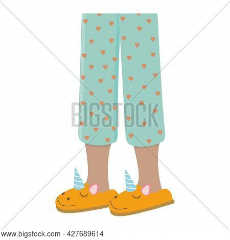 Legs Of Girls In Pajamas And Slippers, Color Isolated Vector Illustration In The Flat Style.
