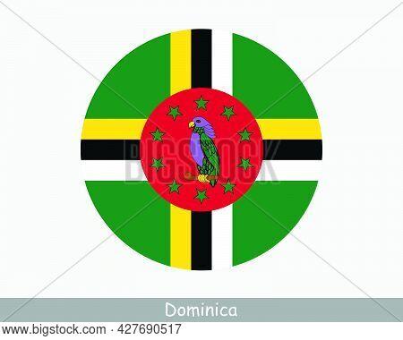 Dominica Round Circle Flag. Dominican Circular Button Banner Icon. Eps Vector