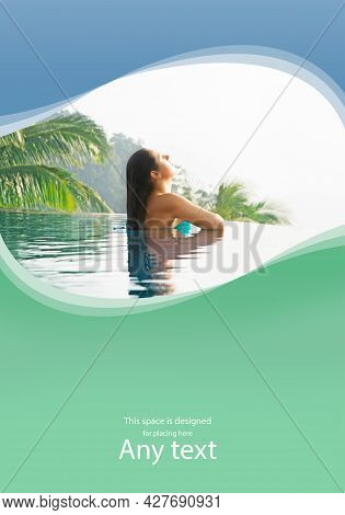 Young And Attractive Woman In Swimsuit Relaxing In A Beautiful Poolside. Girl Having Summer Vacation