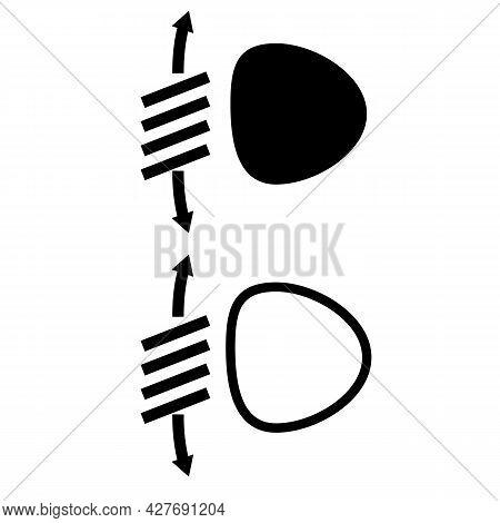 Headlight Range Control Icon On White Background. Headlight Sign. Headlight Range Control Symbol. Fl