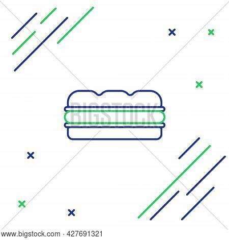 Line Sandwich Icon Isolated On White Background. Hamburger Icon. Burger Food Symbol. Cheeseburger Si