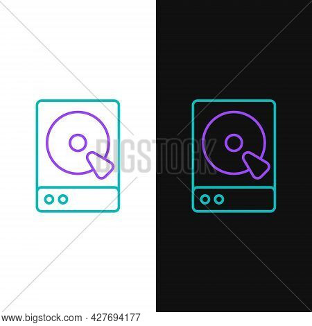 Line Hard Disk Drive Hdd Icon Isolated On White And Black Background. Colorful Outline Concept. Vect