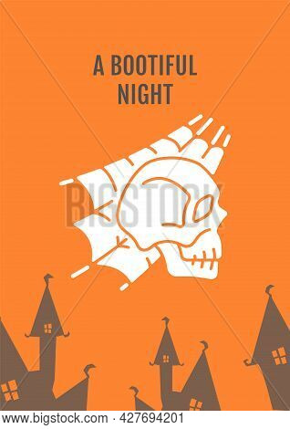Halloween Haunted Castle Greeting Card With Glyph Icon Element. Creative Simple Postcard Vector Desi