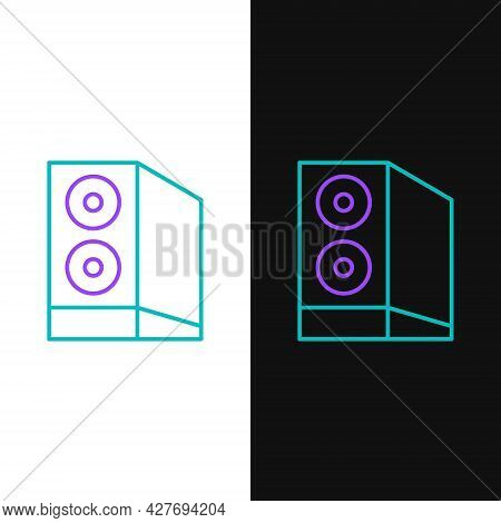 Line Case Of Computer Icon Isolated On White And Black Background. Computer Server. Workstation. Col