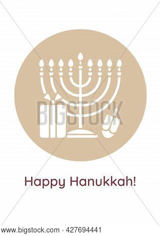 Happy Chanukah Holiday Greeting Card With Glyph Icon Element. Creative Simple Postcard Vector Design