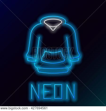 Glowing Neon Line Hoodie Icon Isolated On Black Background. Hooded Sweatshirt. Colorful Outline Conc