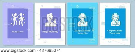 World Youth Day Celebration Greeting Cards With Glyph Icon Element Set. Creative Simple Postcard Vec