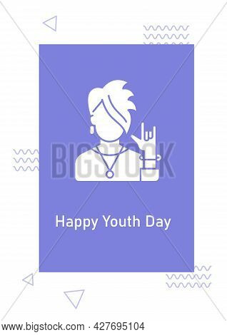 Happy National Youth Day Greeting Card With Glyph Icon Element. Creative Simple Postcard Vector Desi