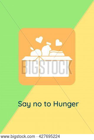 Feeding Hungry People Greeting Card With Glyph Icon Element. Creative Simple Postcard Vector Design.