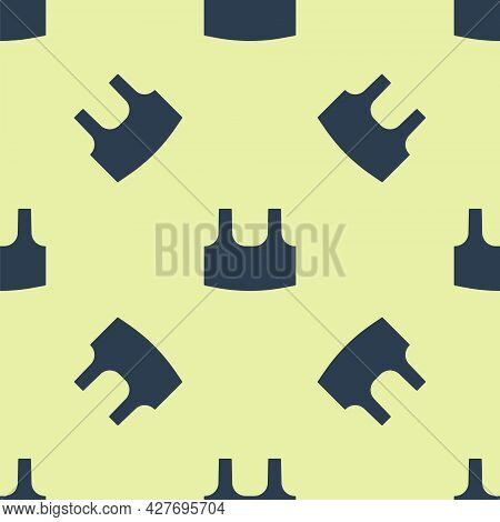 Blue Undershirt Icon Isolated Seamless Pattern On Yellow Background. Vector