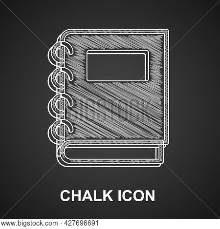 Chalk Notebook Icon Isolated On Black Background. Spiral Notepad Icon. School Notebook. Writing Pad.