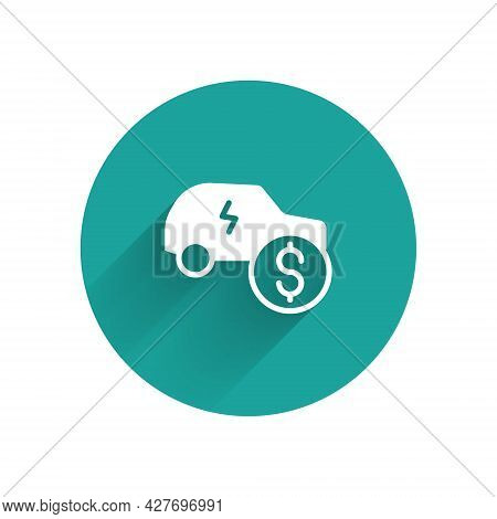 White Electric Car Price Icon Isolated With Long Shadow Background. Electric Auto Industry Growth Co